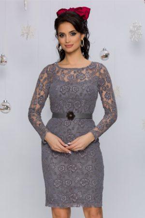 Rochie feminina si superba gri din dantela florala catifelata cu maneci lungi Ciri