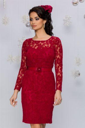 Rochie feminina si superba rosie din dantela florala catifelata cu maneci lungi Ciri