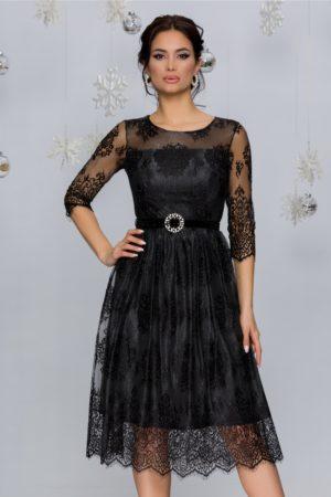 Rochie de ocazie din dantela neagra eleganta cu insertii din lurex argintiu Crina
