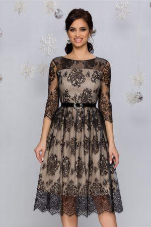 Rochie eleganta din dantela neagra cu insertii din lurex argintiu si captuseala bej Crina
