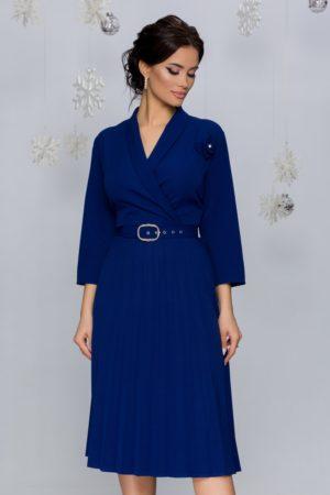 Rochie office midi bleumarin cu fusta plisata intr-o croiala retro feminina Damaris