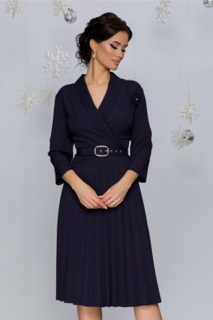 Rochie office midi albastru inchis cu fusta plisata intr-o croiala retro feminina Damaris