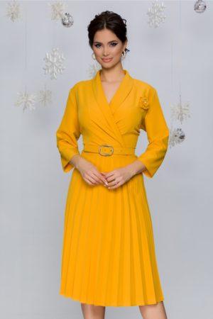 Rochie office midi galbena cu fusta plisata intr-o croiala retro feminina Damaris
