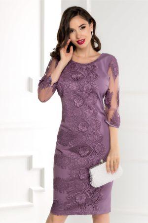 Rochie eleganta midi lila de seara cu broderie si maneci trei sferturi Damaris