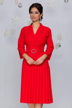 Rochie office midi rosie cu fusta plisata intr-o croiala retro feminina Damaris