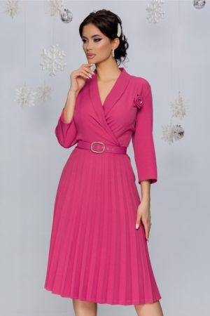 Rochie office midi roz inchis cu fusta plisata intr-o croiala retro feminina Damaris