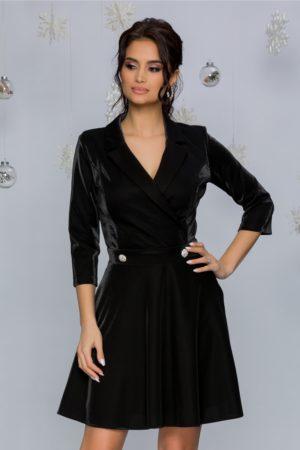 Rochie eleganta in clos neagra cu reflexii prevazuta cu un decolteu in V petrecut Damiana