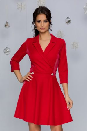 Rochie eleganta in clos rosie cu reflexii prevazuta cu un decolteu in V petrecut Damiana