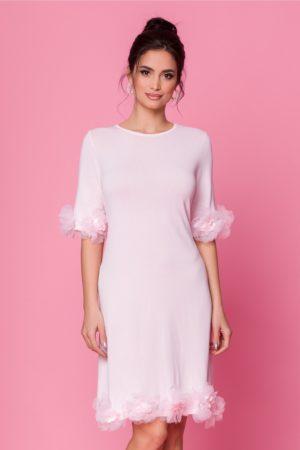 Rochie eleganta roz de ocazie cu aplicatii florale 3D Damiana