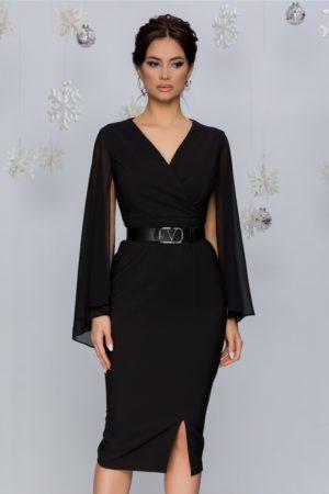 Rochie de seara neagra eleganta cu maneci lungi decupate din voal Daniela