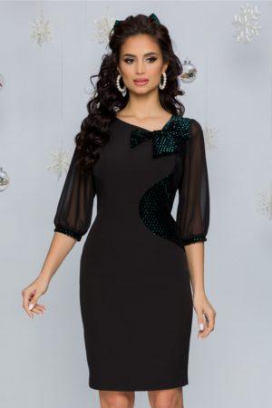 Rochie de seara neagra eleganta cu detalii catifelate si paiete turcoaz Dara