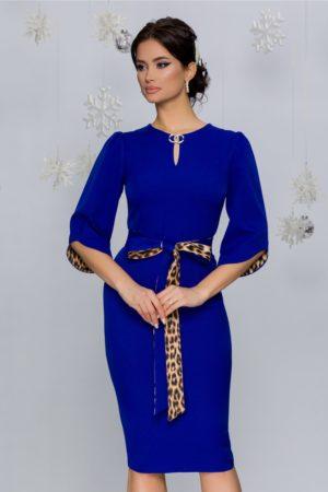 Rochie eleganta midi conica albastra cu cordon si detalii animal print Dariana
