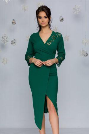 Rochie eleganta verde deschis midi cu decupaje florale si decolteu in V Denisa