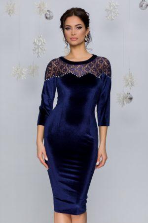 Rochie de ocazie bleumarin din catifea cu dantela si perlute la bust Dorina