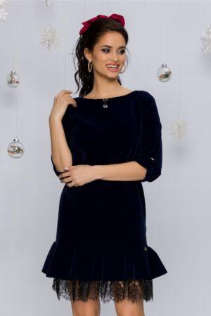 Rochie eleganta scurta bleumarin din catifea cu volan din dantela la baza Dorina