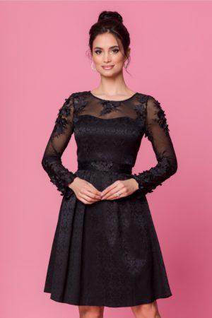 Rochie de seara neagra cu broderie florala 3D la decolteu si maneci Dorina