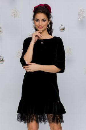 Rochie de seara scurta neagra din catifea cu dantela si maneci trei sfert Dorina