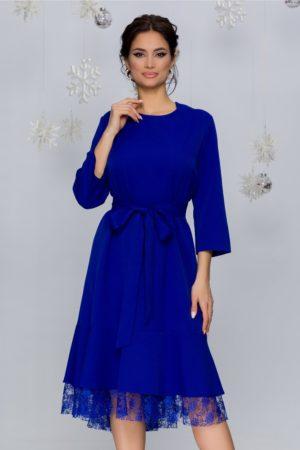 Rochie de ocazie albastra eleganta cu detalii din dantela si croiala evazata Doris