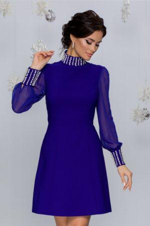 Rochie de seara scurta albastra accesorizata cu perle si maneci lungi din voal Eliza