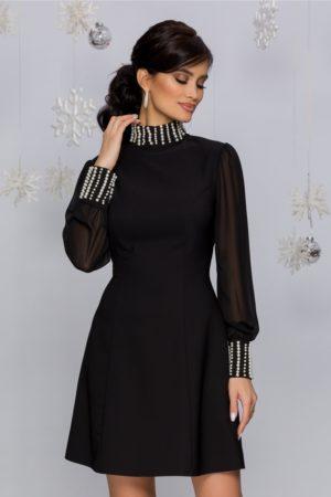 Rochie de seara scurta neagra accesorizata cu perle si maneci lungi din voal Eliza