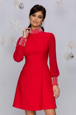 Rochie de seara scurta rosie accesorizata cu perle si maneci lungi din voal Eliza