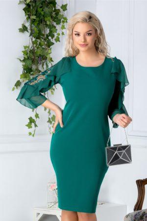 Rochie midi eleganta verde de ocazie cu broderie la maneci Engrail