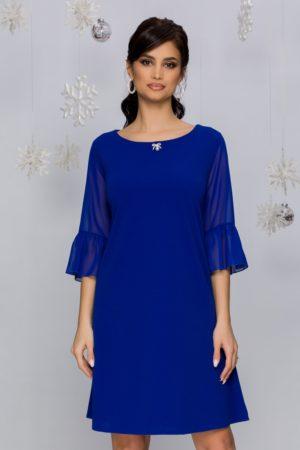 Rochie de ocazie albastra lejera pe corp cu maneci scurte evazate din tull Ervin