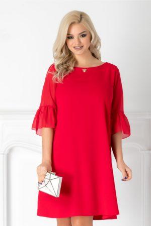 Rochie de ocazie rosie lejera pe corp cu maneci scurte evazate din tull Ervin