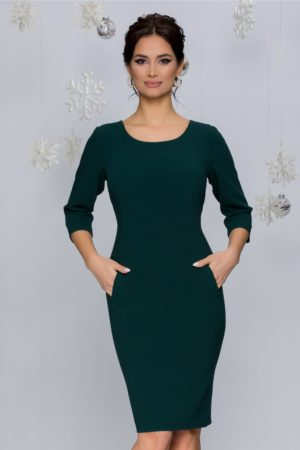 Rochie de zi office midi eleganta verde inchis cu buzunare si croiala cambrata Fenna