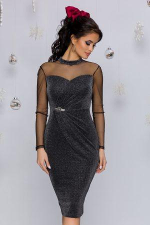 Rochie de seara neagra eleganta mulata pe corp cu maneci lungi din tull transparent Frozy