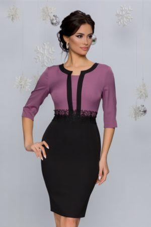 Rochie de zi lila cu fusta midi conica accesorizata cu broderie in talie Gabrielle