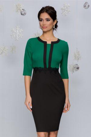 Rochie de zi verde deschis cu fusta midi conica accesorizata cu broderie in talie Gabrielle