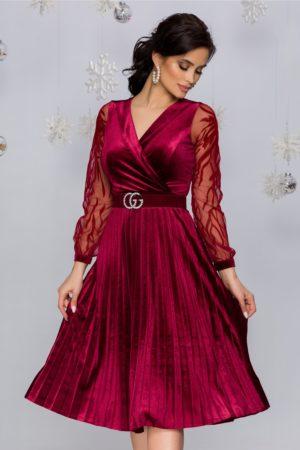 Rochie de seara din catifea bordo cu maneci lungi din tull fin cu broderie florala Gynela