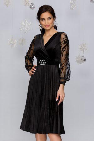 Rochie de seara din catifea neagra cu maneci lungi din tull fin cu broderie florala Gynela