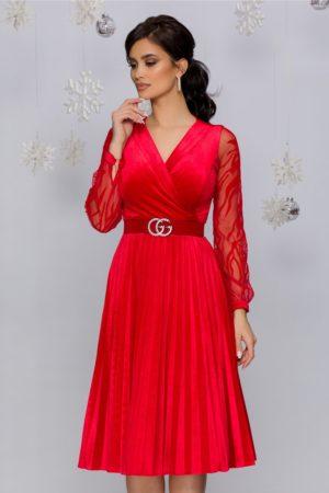 Rochie de seara din catifea rosie cu maneci lungi din tull fin cu broderie florala Gynela