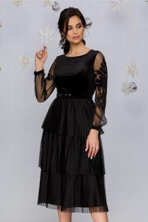 Rochie de seara neagra din catifea prevazuta cu maneci lungi din tull fin Harra