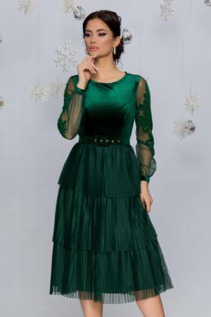Rochie de seara verde smarald din catifea prevazuta cu maneci lungi din tull fin Harra