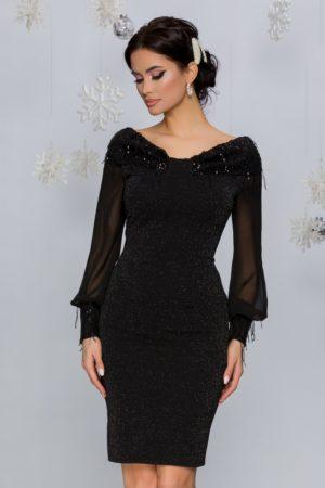 Rochie de seara neagra cu paiete si maneci lungi din voal usor transparent Iasmin