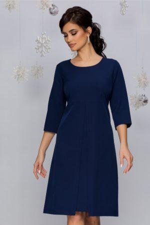 Rochie de zi eleganta bleumarin cu pliu maxi in talie si maneci trei sferturi Iunona