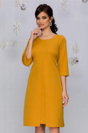 Rochie de zi eleganta galben mustar cu pliu maxi in talie si maneci trei sferturi Iunona