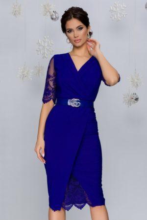 Rochie midi mulata de seara albastra cu tull diafan si broderie florala Ivette