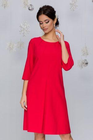 Rochie eleganta rosu zmeura cu pliuri si o croiala larga pe corp Ivonna