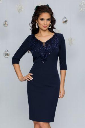 Rochie de seara bleumarin eleganta cu franjuri din paiete si maneci trei sferturi Jodhi
