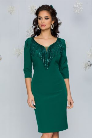 Rochie de seara verde eleganta cu franjuri din paiete si maneci trei sferturi Jodhi
