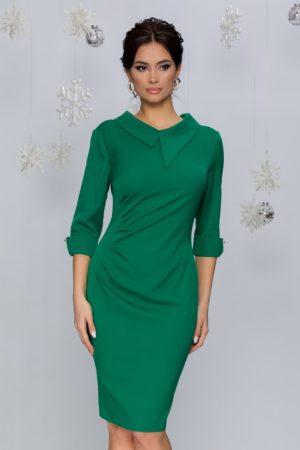Rochie midi conica de ocazie verde cu pliuri in talie si maneci trei sferturi Judith