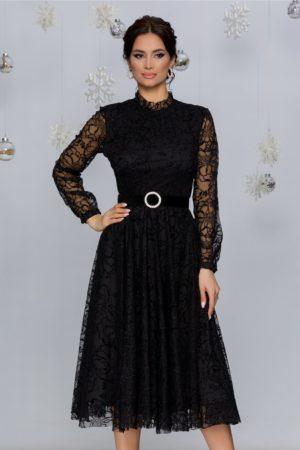 Rochie de seara neagra midi eleganta cu insertii din catifea si sclipici Kasya