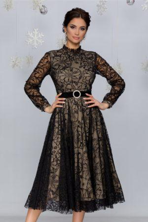 Rochie de seara negru cu bej midi eleganta cu insertii din catifea si sclipici Kasya