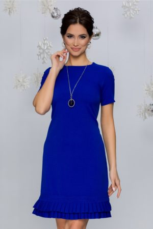 Rochie albastra de zi eleganta cu volanase plisate si maneci scurte Katy