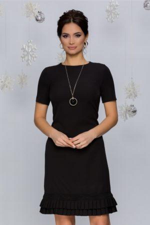 Rochie neagra de zi eleganta cu volanase plisate si maneci scurte Katy