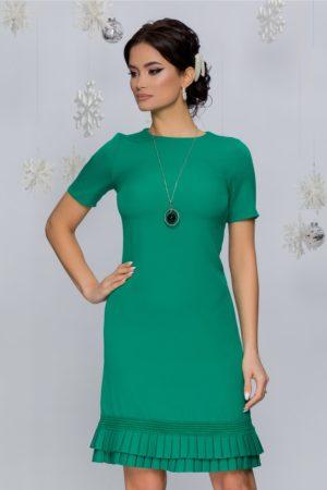 Rochie verde de zi eleganta cu volanase plisate si maneci scurte Katy
